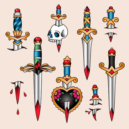 Set von Farbtattoos im traditionellen Vintage-Stil. Dolche und Messer