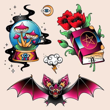 Set von Farbtattoos im traditionellen Vintage-Stil. Magische Symbole Vektorgrafik