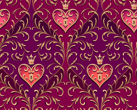 Barocco style gold branches with royal padlock on purple background. Elegant seamless pattern for design and decoration of Valentines day