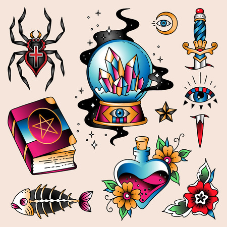 Set of  color tattoos at traditional vintage style. Magic and mystic symbols