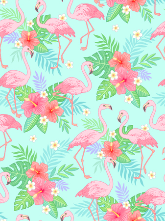 Elegant flamingo on tropical floral background. Trendy seamless pattern for your design and decoration  Çizim