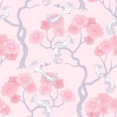 Pájaros de fantasía blanca en el jardín de sakura sobre fondo rosa. Elegante patrón sin costuras para diseño y decoración textil.