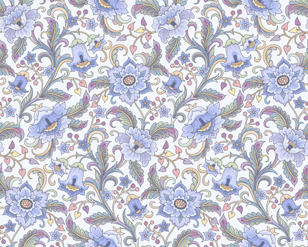 blue flowers at folk style on light background. Floral seamless pattern for your design and decoration