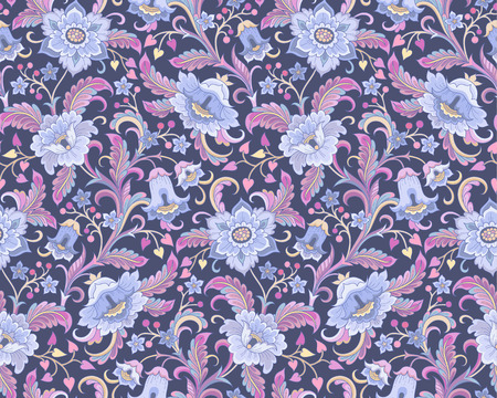 blue flowers at folk style on dark background. Floral seamless pattern for your design and decoration Çizim