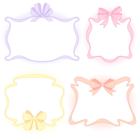 Set of cute color frames with bows for decoration. Cartoon design elements isolated on white background