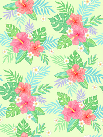 Elegant hibiscus flowers and tropical leaves on light green background. Trendy seamless pattern for your design and decoration
