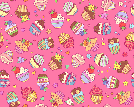 Cute cupcakes on pink background. Cartoon pattern for textile design and decoration