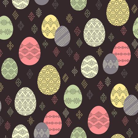 Color easter eggs with ethnic ornament  on dark background. Abstract seamless pattern for Easter design and decoration
