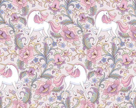 White unicorns in the floral garden. Folk style seamless pattern for your design and decoration Çizim