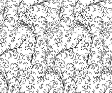 Baroque style ornament black on white.Floral seamless pattern for your design and decoration.