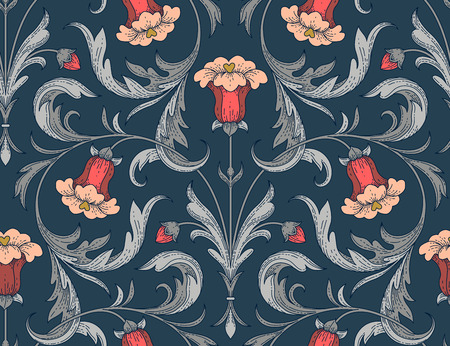 Victorian style red bell flowers with silver leaves on dark blue background. Elegant seamless pattern for textile design and decoration
