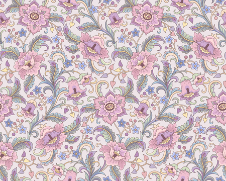 Fantasy pink flowers at folk style on beige background. Floral seamless pattern for your design and decoration