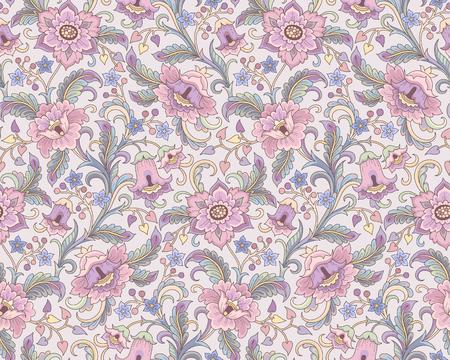 Fleurs roses fantaisie au style folk sur fond beige. Motif floral sans couture pour votre conception et décoration