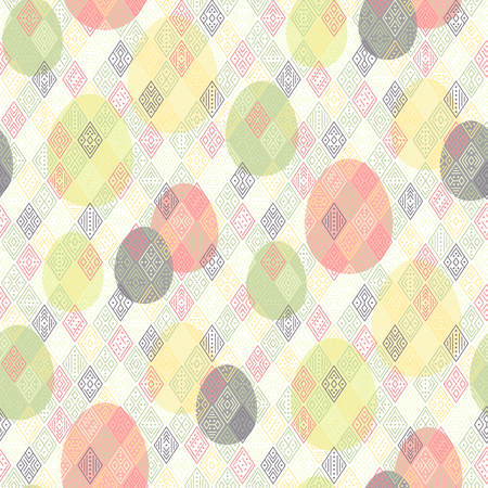 Color easter eggs with geometric  ornament at ethnic style. Abstract seamless pattern for Easter design and decoration Çizim