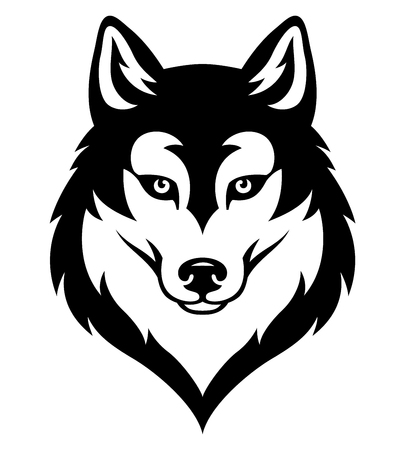 Stylized syberian husky's head. Emblem for sport team or tattoo. Black isolated on white