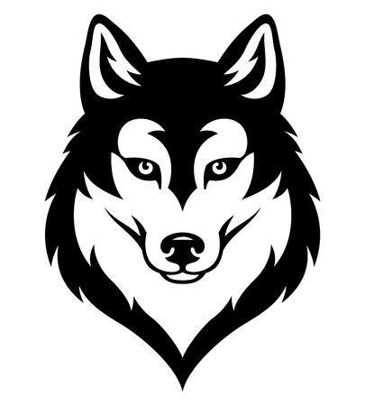 Testa stilizzata del husky siberiano. Emblema per squadra sportiva o tatuaggio. Nero isolato su bianco