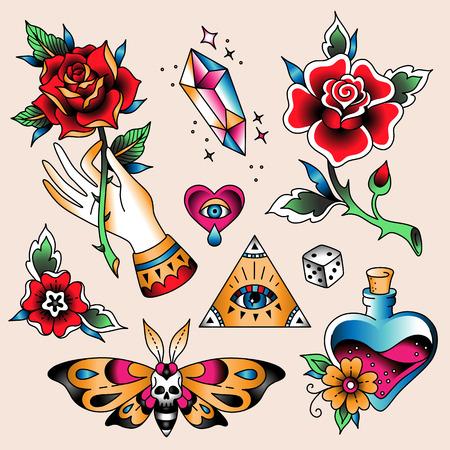 Conjunto de tatuajes de colores en estilo vintage tradicional. Símbolos románticos