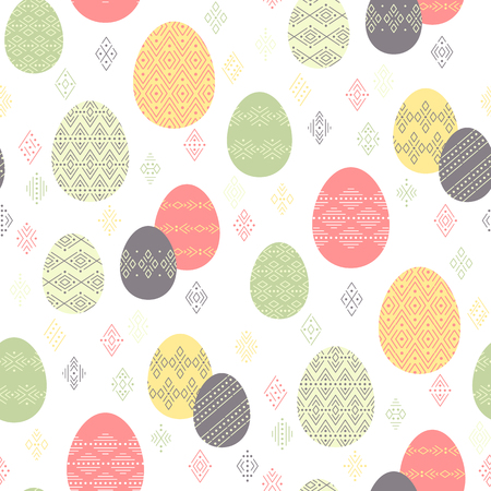 Color easter eggs with ethnic ornament  on white background. Abstract seamless pattern for Easter design and decoration Çizim