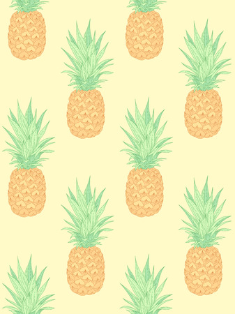 Fresh pineapples on yellow. Seamless pattern for textile, design and decoration Çizim