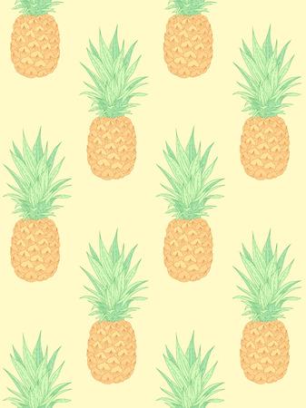 Frische Ananas auf Gelb. Nahtloses Muster für Textil, Design und Dekoration