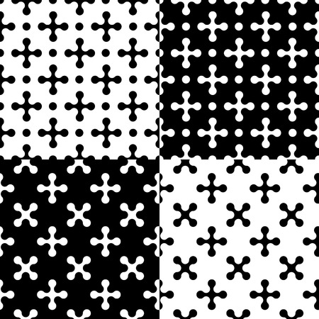 Set of 4 simple seamless patterns of x-shape elements. Abstract monochrome textures for your design and decoration