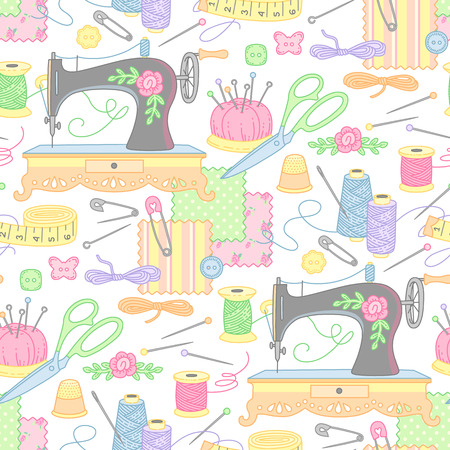 Tools and objects for sewing and handmade. Cute seamless pattern for your design and decoration Çizim