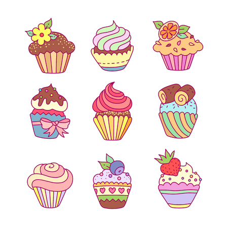 Set of cute cupcakes at cartoon style isolated on white background Çizim