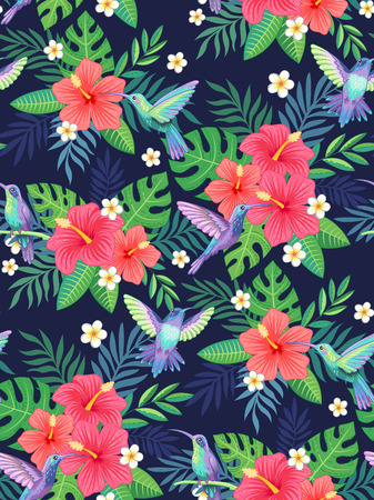Hummingbirds and hibiscus flowers on blue background. Topical seamless pattern for your design and decoration