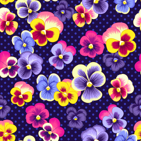 Pansies and dot ornament on dark blue background. Floral seamless pattern for textile, design and decoration