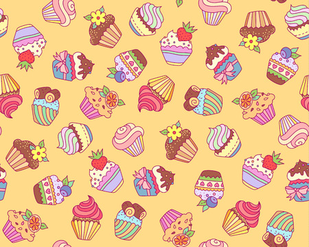 Cute cupcakes on yellow background. Cartoon pattern for textile design and decoration