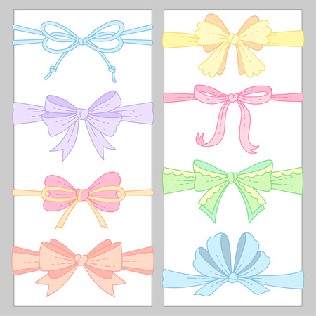 Set of cute  color bows for decoration. Cartoon design elements isolated on white background