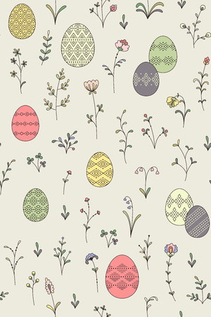 Color easter eggs and spring plants on beige background. Cute seamless pattern for Easter design and decoration