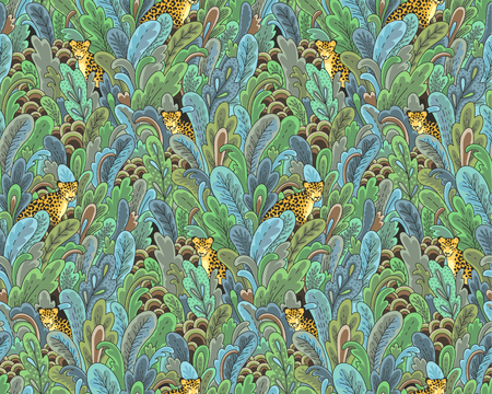 Leopards hiding in the green plants. Seamless pattern for textile, design and decoration Çizim