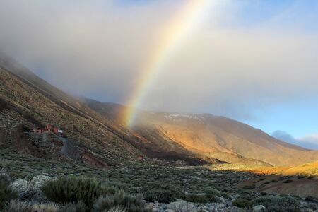 Landscape with rainbow around the Teide - the highest mountain of spain