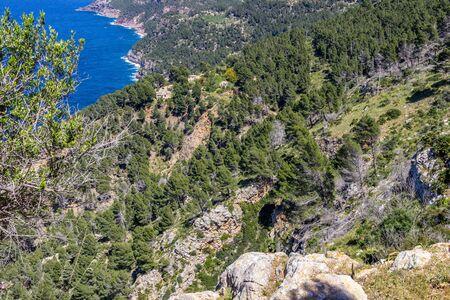 Scenic view on the coast of northern Mallorca between Bayalbufar and Andratx