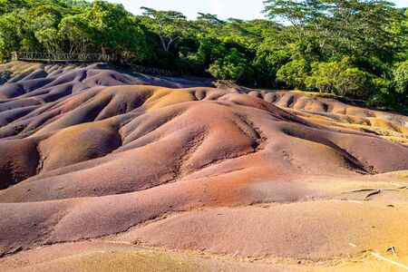 Seven coloured earth (sandstone formation with seven colours) on Mauritius island, Chamarel, Indian ocean Stock Photo