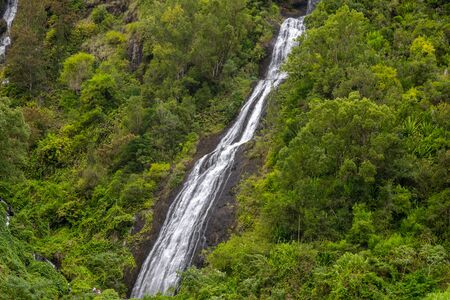 Waterfall on a green mountain at french island Reunion in the indian ocean Standard-Bild - 134626028