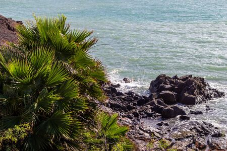 View at the coastline of El Cotillo on canary island Fuerteventura, Spain Banque d'images