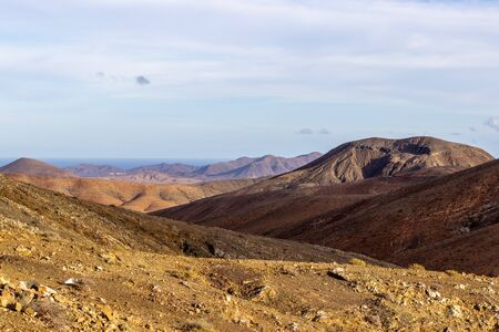 Panoramic view at landscape from viewpoint mirador astronomico de Sicasumbre between Pajara and La Pared on canary island Fuerteventura, Spain