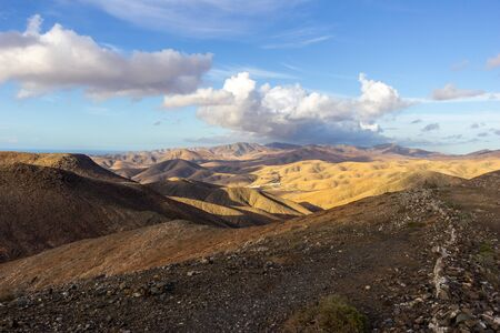 Panoramic view at landscape  between Pajara and La Pared   on canary island Fuerteventura, Spain
