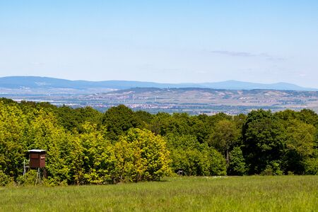 Wide angle view at landscape with forest and hight seat from Rotenfels, Bad Muenster am Stein, Rhineland Palatinate, Germany