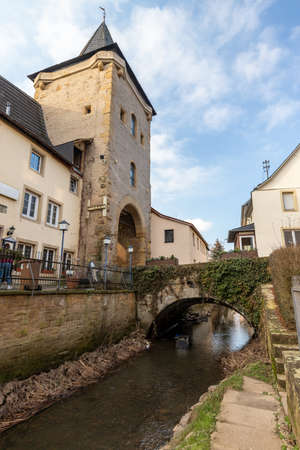 City gate Untertor in the historic old town of Meisenheim, Germany
