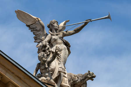 Close-up of statue on the state theater. Archivio Fotografico