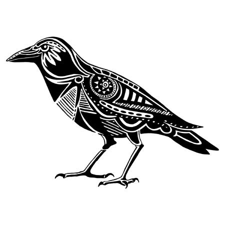 corvo imperiale: Etnica nero raven silhouette. Disegno totem tatuaggio africano