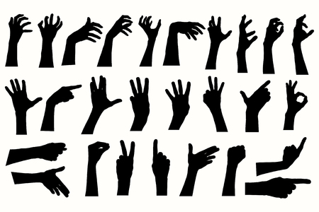 ok hand: Vector human hands, different hands, gestures, signals and signs. Illustration