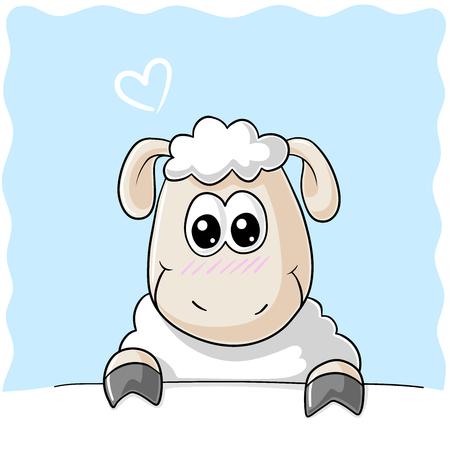 fleecy: Shy comic sheep Illustration