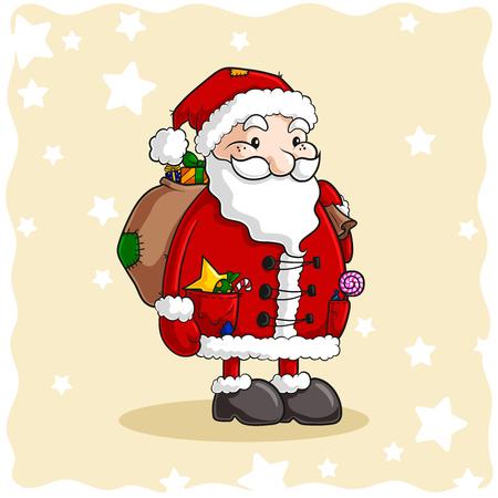 christmas tree illustration: Cartoon Santa Claus Vector