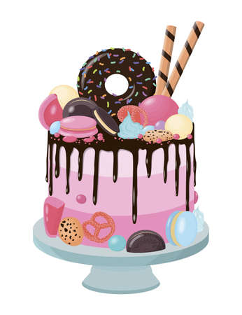 Vector pink cake with chocolate donut, macaroons, sweet sticks, pretzels, cookies and other sweets.