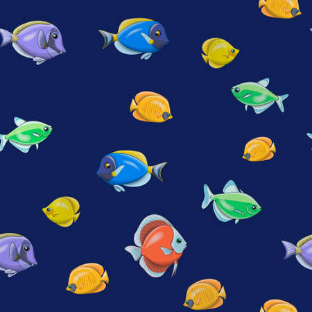 Vector pattern of tropical colorful fish in cartoon style on a dark blue background