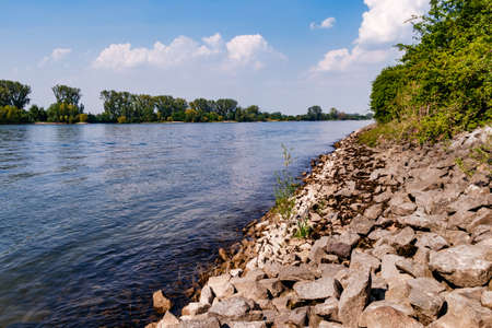 A fortified bank reinforcement on the Middle Rhine in Germany Stock Photo